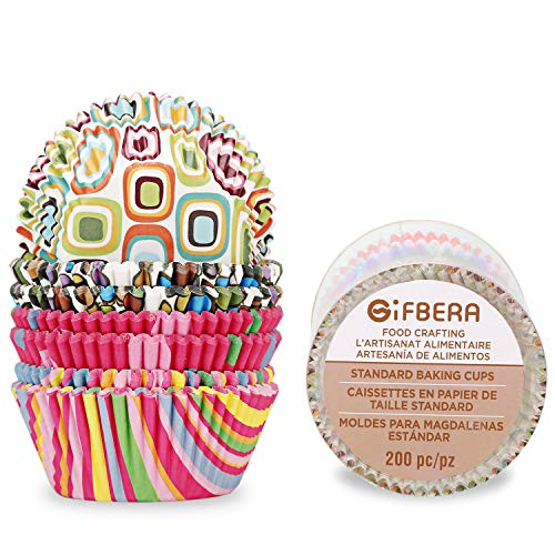 - Gifbera Colorful Geometric Print Cupcake Liners Standard Muffin Baking Cups, Pack of 200
