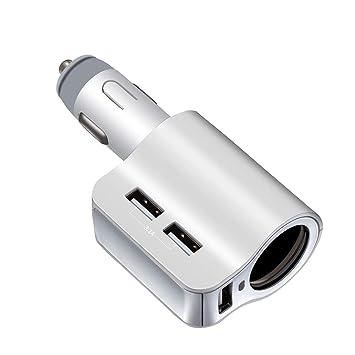 CZCDQA Cargador de coche Auto 3.1A 3 puertos USB ranura + ...