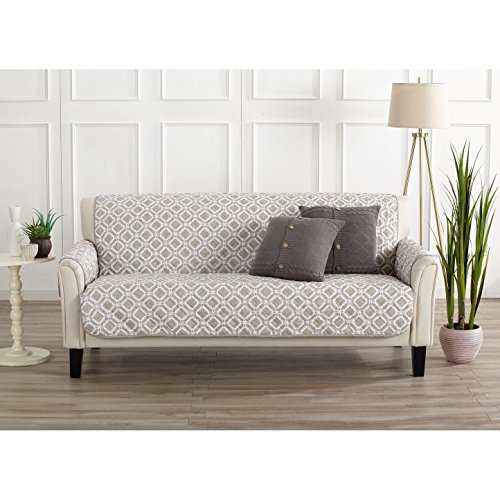 MN 1 Piece Silver Grey Geometric Sofa Protector, Gray Medallion Diamond Shape Pattern Circle Dot Ikat Jacquard Modern Sleek Trendy Couch Protection Cover Pets Animals Covers, Polyester by MN