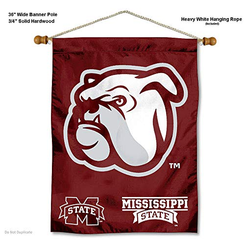 College Flags and Banners Co. Mississippi State Bulldogs Banner with Hanging Pole