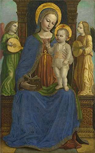 Polyster Canvas ,the Cheap But High Quality Art Decorative Art Decorative Prints On Canvas Of Oil Painting 'Bernardino Bergognone The Virgin And Child With Two Angels ', 8 X 13 Inch / 20 X 33 Cm Is Best For Gym Gallery Art And Home Decoration And Gifts