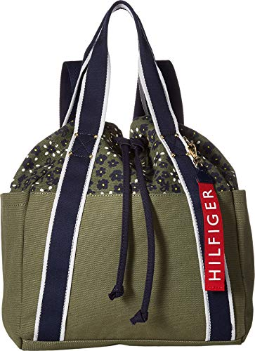 Tommy Hilfiger Women's Classic Tommy Drawstring Backpack Olive One Size