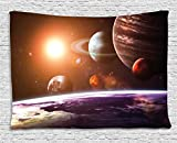 Ambesonne Modern Decor Tapestry by, Solar System with Planets Outer Space Objects Sun Dark Matter Background, Wall Hanging for Bedroom Living Room Dorm, 80WX60L Inches, Orange Purple