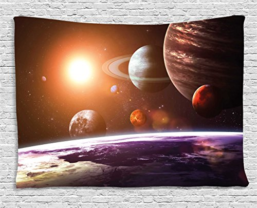 Ambesonne Modern Decor Tapestry by, Solar System with Planets Outer Space Objects Sun Dark Matter Background, Wall Hanging for Bedroom Living Room Dorm, 80WX60L Inches, Orange Purple by Ambesonne