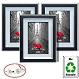 4x6 Black Picture Frame for Hanging Photo Display 4 by 6 Image with Mat