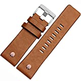 MSTRE NP67 24mm/26mm Calfskin Leather Watch Band Suitable for Men's Diesel Watches (26mm, Brown)