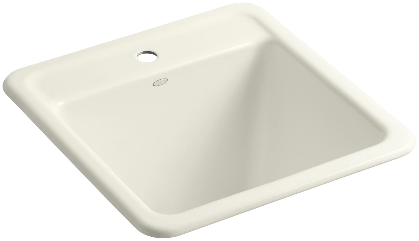 KOHLER K-19022-1-96 Park Falls Top-Mount/Undermount Utility Sink with Single Faucet Hole, Biscuit