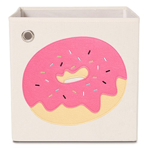 "toy storage box kaikai & ash, 13"" bin organizer for baby nursery and kids bedroom sprouts bookshelf - sprinkled pink donut"