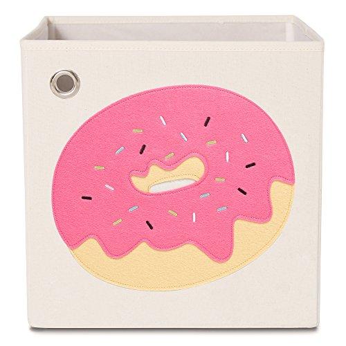 kaikai & ash Toy Storage Bins, Foldable Canvas Cube Box for Kids, 13 inch - Sprinkled Pink Donut