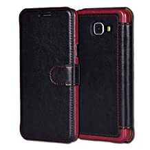 Galaxy A3(2016)Case,Samsung Galaxy A3(2016)Case Wallet Case, Tisuns [Layered Dandy] - [Ultra Slim][Wallet Case] - Leather Flip Cover With Credit Card Slot for Samsung Galaxy A3(2016) Case - SAMSUNG A3100 CASE (Black)