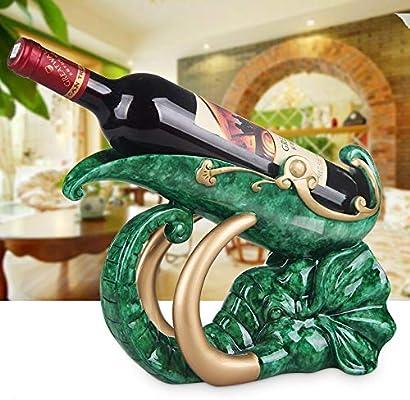 NXSP - Botellero Europeo Creativo de Resina para Vino Tinto para Sala de Estar, hogar, gabinete de Vino, decoración de Vino vacía, Soporte para Botellas de Vino, Jade aupicioso como Phnom Penh: