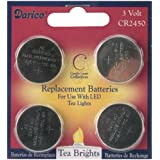 Darice 6201-91 LED Tea Lights Replacement Batteries, 4-Pack