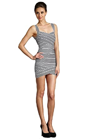 5e6d69c44240db Amazon.com: Angela Baby Women's Mini Striped Bandage Dress: Clothing