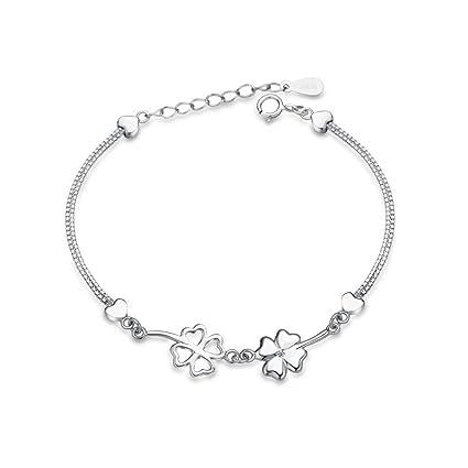Amazon.com  Acxico 925 Sterling Silver Clover Bracelet Woman Bracelet  Wedding Bracelet 95000e0b5d78