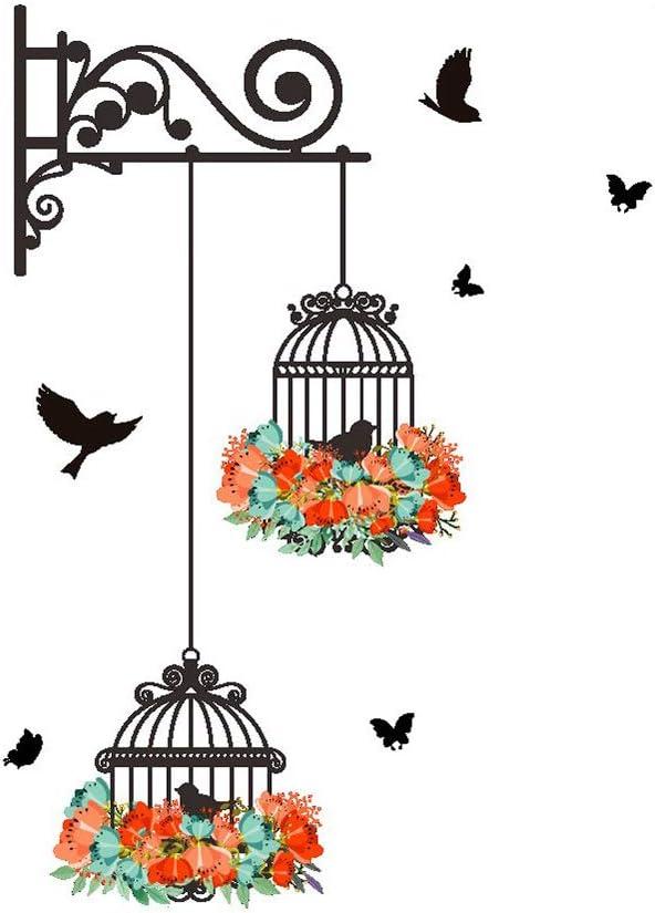 runfon–Adhesivo de pared decorativo para 25* 70cm flores y pájaros schmetter Longitud Salón etiqueta adhesiva pared decorativa pared de 100% nuevo y ultra alta calidad