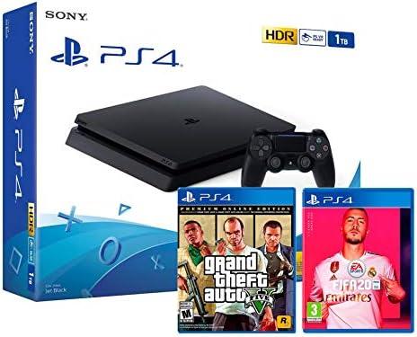 PS4 Slim 1Tb Negra Playstation 4 Consola + FIFA 20 + GTA V Grand ...