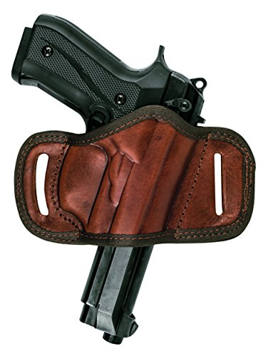 Akar Beretta 92FS and Similar Frame Sizes, RIGHT HAND BLACK/BROWN LEATHER QUICK DRAW BELT SLIDE OWB HOLSTER (Brown)