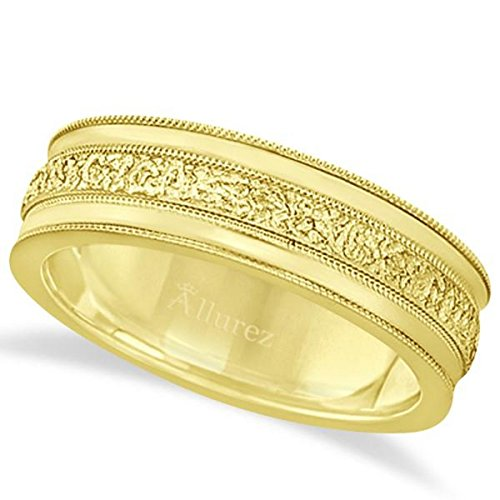 Carved Men's Wedding Ring Diamond Cut Band 18k Yellow Gold (7 -