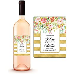 CUSTOM Pregnancy Announcement Wine Labels, Sisters Get Promoted To Aunt Auntie Wine Labels, Personalized Pregnancy Reveal, We're Expecting Wine Bottle Labels, Baby Announcement, WEATHERPROOF A450-10SW
