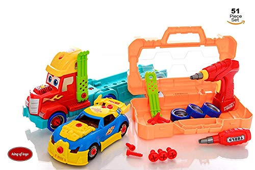 King Of Toys Take Apart 51 Piece Toy Set Truck Carrier Tool Box with Racing Car, Power Drill, And Realistic Lights and Sounds Hours of Fun Toy for Boys & - Airplane Take Apart