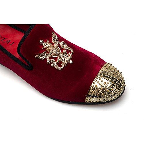 Herren Leder Metallic Loafer Echtes Schlupfhalsband Schuhe Red Glitzer Jitai Strukturierte gRdCwCxq