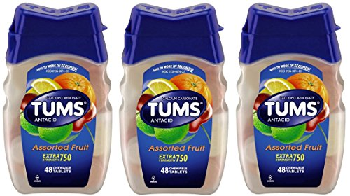 Tums E-X Antacid/Calcium Supplement, Extra Strength, Assorted Fruit, Chewable Tablets,, 144 Count (3 X 48 Count Bottles) ()