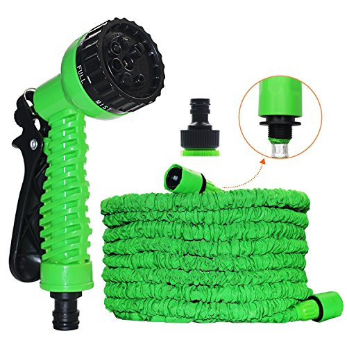 Expandable Garden Hose, 50FT Strongest Expanding Garden HoseNo Leakage Durable 6 Function Spray Nozzle Extra Strength Fabric Protection for All Your Watering Needs(Color:Green) (Green)