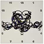 3dRose DPP_102673_2 Steampunk Blue Steel Hearts Cogs Gears Printed Design Wall Clock, 13 by 13-Inch 5
