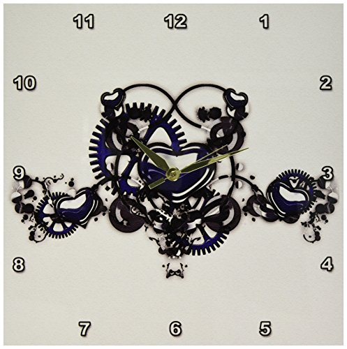 3dRose dpp_102673_2 Steampunk Blue Steel Hearts Cogs Gears Printed Design Wall Clock, 13 by 13-Inch
