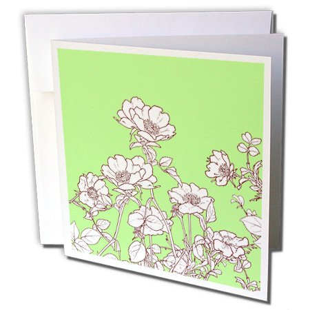 3dRose Russ Billington Designs - Pretty Wild Rose Drawing in Sepia and White over Green Background - 1 Greeting Card with envelope (gc_219386_5) ()