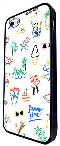 923 - Collage Holiday Time Ice Cream Holiday Sunglasses Music Palm Tree Design iphone SE - 2016 Coque Fashion Trend Case Coque Protection Cover plastique et métal - Noir