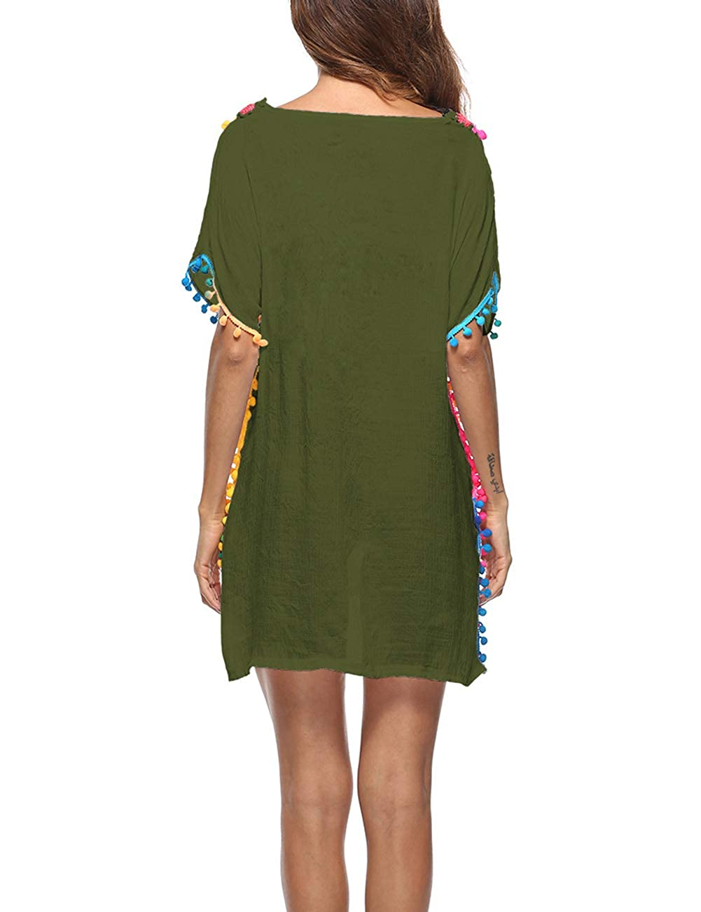 ad9de84dd0 Bsubseach Women Half Sleeve Swimwear Beach Tunic Dress Loose V Neck  Embroidered Cover Up Army Green at Amazon Women's Clothing store: