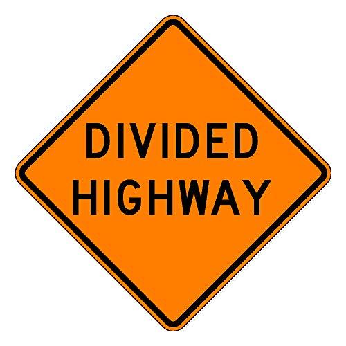 MUTCD W6-1a Orange Divided Highway Sign, 3M Reflective Sheeting, Highest Gauge Aluminum,Laminated, UV Protected, Made in U.S.A (3M Diamond Grade DG3/.125 Highest Grade Aluminum, 30