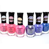 KLEANCOLOR 6 MIXED SCENTED #02 LACQUER NAIL POLISH BEAUTIFUL PINK & PURPLE COLOR + FREE EARRING