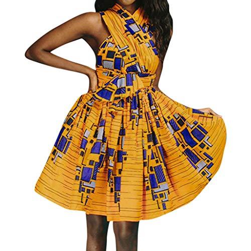 Caopixx Women Summer African Printed Elegant Party Dress Women's Sleeveless More Wear Straps Dress Yellow -
