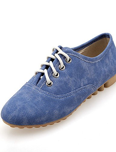 ZQ hug Zapatos de mujer - Tacón Plano - Punta Redonda - Oxfords - Casual - Semicuero - Negro / Azul / Beige , blue-us8 / eu39 / uk6 / cn39 , blue-us8 / eu39 / uk6 / cn39 black-us6 / eu36 / uk4 / cn36