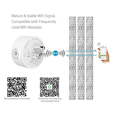NTONPOWER WiFi Smart Plug in Wall Remote Control Wireless Socket Timer with ON/OFF Switch for Light Electrical Appliance(For iOS 8.0+/ Android 4.4+), Compatible with Alexa- White by NTONPOWER (Image #1)