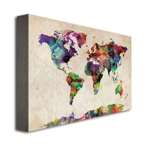 Trademark Fine Art Urban Watercolor World Map by Michael Tompsett Canvas Wall Art, 22x32-Inch