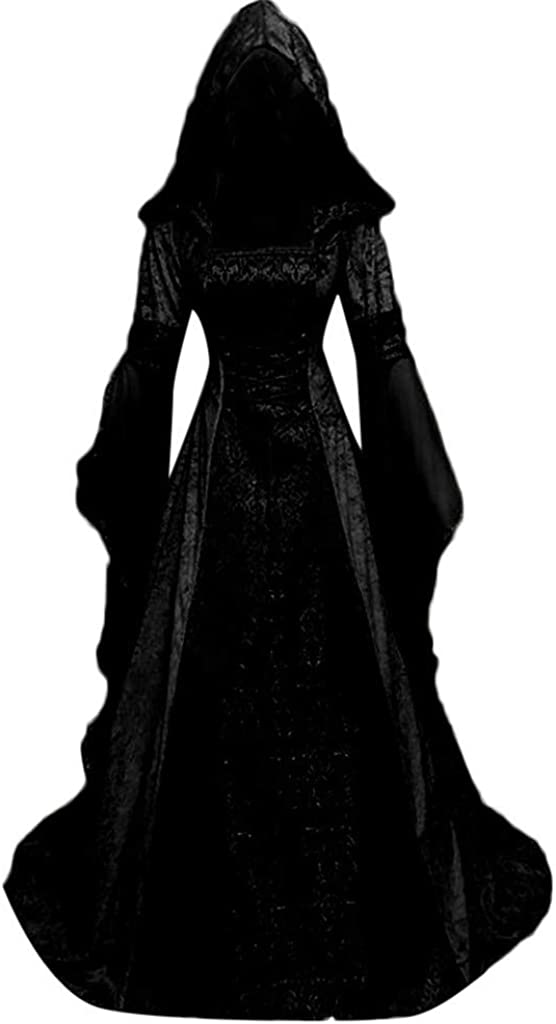 Clearance Medieval Dress,Forthery Women Renaissance Lace Up Vintage Gothic Dress Floor Length Hooded Cosplay Dresses