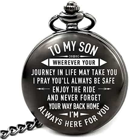 LEVONTA Son Gifts for Christmas Birthday Wedding Graduation, to My Son Memorial Pocket Watch from Mom Dad (PW-Son-Journey)