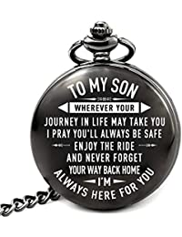 Son Gifts for Christmas Birthday Wedding Graduation, to My Son Memorial Pocket Watch from Mom Dad (PW-Son-Journey)
