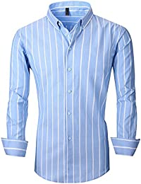 Men's Long Sleeve Casual Slim Fit Vertical Striped Button Down Dress Shirt