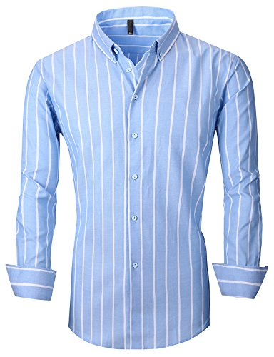 XTAPAN Men's Long Sleeve Casual Slim Fit Vertical Striped Button Down Dress Shirt Asian 2XL Light Blue 903 (Shirt Dress Mens Striped)