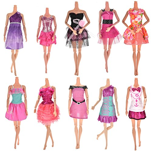 Buytra 10-Pack Barbie Doll Clothes Handmade Wedding Dress Party Gown Clothes Outfits for Girl's Birthday Gift