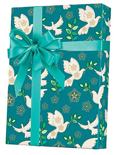Christmas Dove Teal Wrapping Paper Made in America, 2' x 10', Easy to Store Folded Christmas Gift Wrap, WRAP & Revel® -