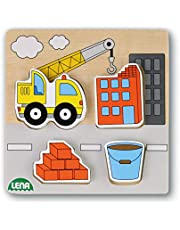 Lena 32162 bouwplaats met kraanwagen houten puzzel, kleurrijk, ca. 14 x 2,5 x 18 cm