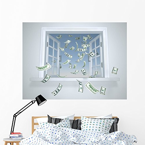 Wallmonkeys Dollars Falling through Window Wall Decal Peel and Stick Graphic (60 in W x 44 in H) - Window Opulence