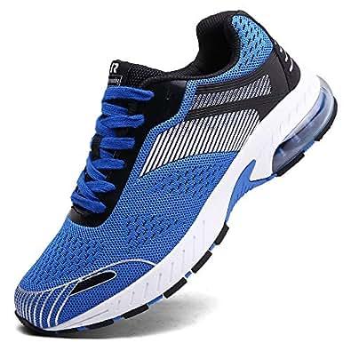 XIDISO Running Shoes Mens Women Air Trail Mesh Sneakers Athletic Walking Cross Training Tennis Sports Shoe for Men Blue Size: 6 Wide Women/5.5 Men