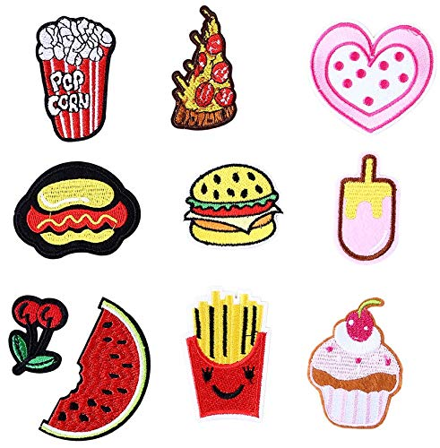 GROHOME 10pcs Embroidered Iron on Applique Patches for DIY Jeans, Jacket, Clothing, Handbag, Shoes, Caps (Food)