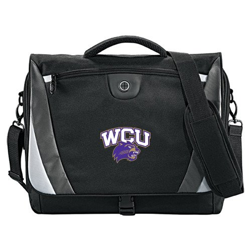 Western Carolina Slope Black//Grey Compu Messenger Bag WCU w//Head